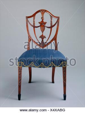 Side Chair. Maker: Attributed to Samuel McIntire (1757-1811); Date: 1794-99; Geography: Made in Salem, Massachusetts, United States; Culture: - Stock Photo