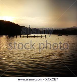 United Kingdom, English Lake District, Sunset over Lake Windermere - Stock Photo