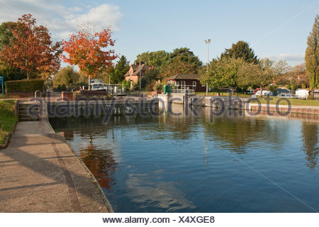Hambleden Lock near Henley, River Thames, Oxfordshire, Uk - Stock Photo