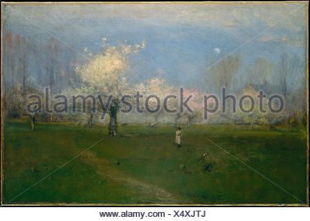 Spring Blossoms, Montclair, New Jersey. Artist: George Inness (American, Newburgh, New York 1825-1894 Bridge of Allan, Scotland); Date: ca. 1891; - Stock Photo