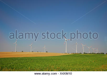 Germany, Saxony-Anhalt, wind park, wind power wheels, wind power, - Stock Photo