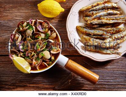 Tapas spanish seafood clams shrimps calamari romana and fried anchovies fish. - Stock Photo