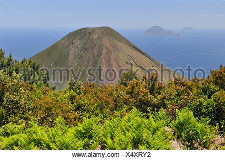 Volcano on Salina island, in the back Filicudi and Alicudi islands, Aeolian Islands, Sicily, southern Italy, Italy, Europe - Stock Photo