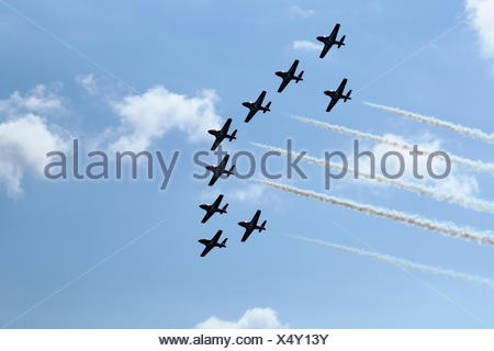 The Canadian Forces Snowbirds aerobatic team air show, Bromont, Eastern Townships, Quebec Province, Canada - Stock Photo