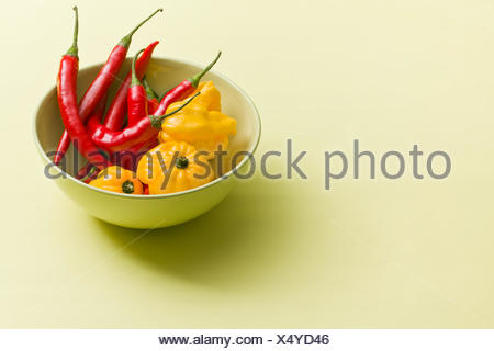 chili peppers and habanero in ceramic bowl on colorful background - Stock Photo