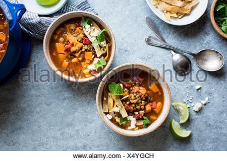 Smoky Sweet Potato & Lentil Tortilla Soup, gluten free and vegan. - Stock Photo
