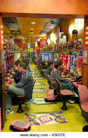 Pachinko, gambling devices, giant amusement arcade with slot machines, the most popular gambling game in Japan, Kyoto, East Asia - Stock Photo