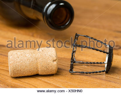 Champagne style cork belgium beer bottle - Stock Photo