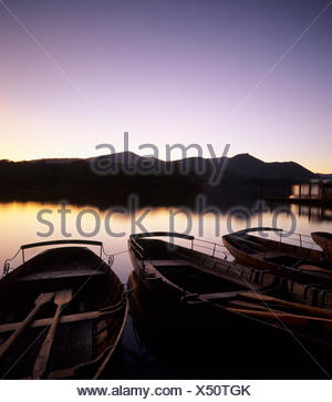 Rowing boats on Derwent Water, Cumbria, Lake District, England, United Kingdom, Europe - Stock Photo