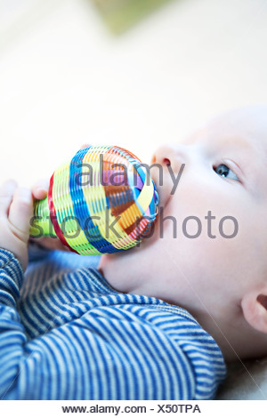 Baby boy playing with rattle, Munich, Bavaria, Germany - Stock Photo