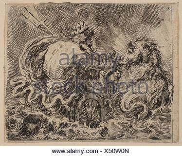 Neptune, from ´Game of Mythology´ (Jeu de la Mythologie). Series/Portfolio: ´Game of Mythology´ (Jeu de la Mythologie); Artist: Etched by Stefano - Stock Photo