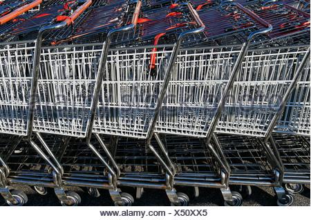 Supermarket shopping carts - Stock Photo