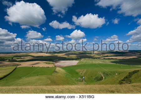 Elevated view of the South Downs near Lewes - Stock Photo