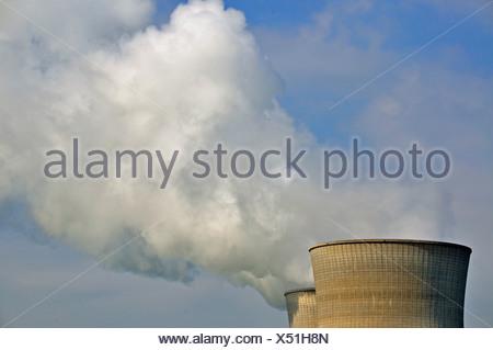 Atom, nuclear energy, nuclear, energy, nuclear power station, Bavaria, Germany, electricity, power, production, energy provider, - Stock Photo