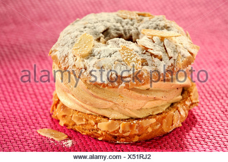 Paris-Brest (Filled choux pastry ring, France) - Stock Photo
