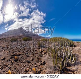Spain Europe Fuerteventura Canary Islands Morro Jable Carretera Cofete park Parque Natural Jandia Pico de la Zarza landscape sum - Stock Photo