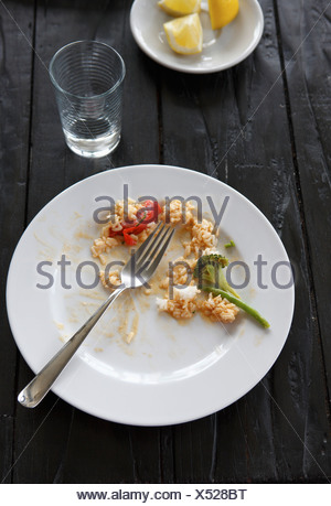 Close up of red coconutmilk curry with tofu left over in plate with fork - Stock Photo