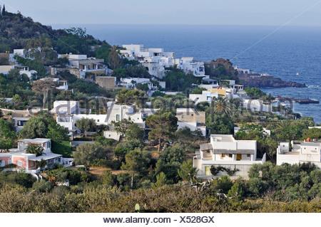 Houses on Panarea Island, Aeolian Islands or Lipari Islands, Sicily, Southern Italy, Italy, Europe - Stock Photo