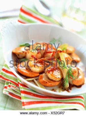 Sauteed scallpos with bacon and fennel