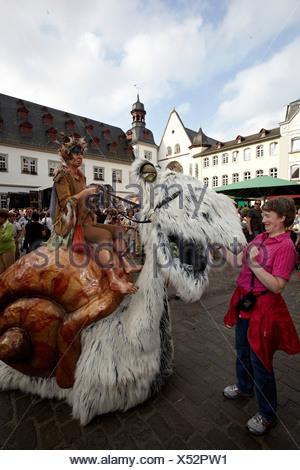 Giant snail, Gauklerfest festival on Jesuitenplatz square, Koblenz, Rhineland-Palatinate - Stock Photo