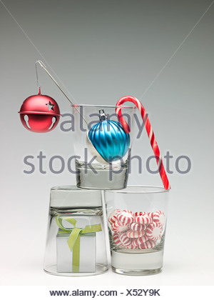 Christmas decorations in glasses - Stock Photo