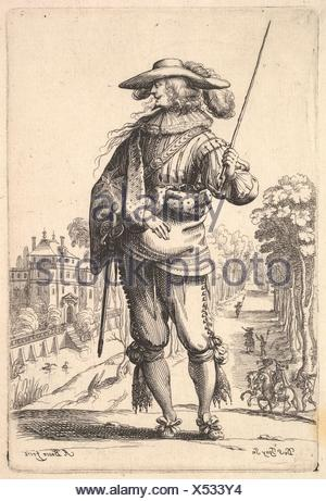 A gentleman with his head turned towards the right in profile, wearing a plumed hat and a cloak with the cross of the Order of the Holy Spirit, - Stock Photo