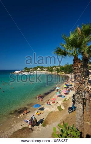 Italy Sicily South Italy Europe island Fontane Bianche Syracuse palm beach beach seashore coast Mediterranean Sea sea palms - Stock Photo