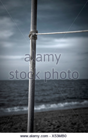 Turkey, Belek, Rope tied to pole at beach - Stock Photo
