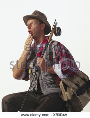 Angler, gesture, - dumbfounded, studio mb 140 A7 - Stock Photo