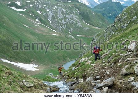 trek over Tom and Ritom lakes, Val Piora, Canton Ticino, Switzerland, Europe - Stock Photo