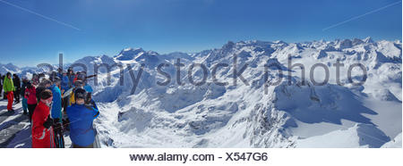 Mont fort, view, Mont fort, Grand Combin, winter, canton, VS, Valais, mountain, mountains, mountain road, Switzerland, Europe, p - Stock Photo