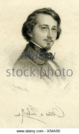 Redwitz, Oskar, Freiherr von, 28.6.1823 - 6.7.1891, German author / writer, poet, portrait, engraving by Schultheiss, after drawing by Correns, 1851, , Artist's Copyright has not to be cleared - Stock Photo