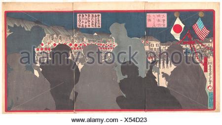 Splendor of the Procession of General Grant from America (Beikoku Guranto-shi go tsuko no han´ei). Artist: Toyohara Kunichika (Japanese, 1835-1900); - Stock Photo