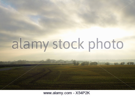 Cloudy sky over rural landscape - Stock Photo