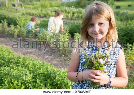 Portrait of girl holding bunch of foliage on herb farm - Stock Photo