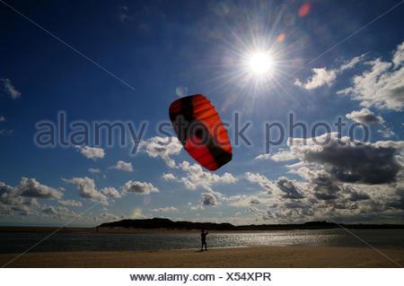 teenager with kite on the beach, Netherlands, Cadzand - Stock Photo