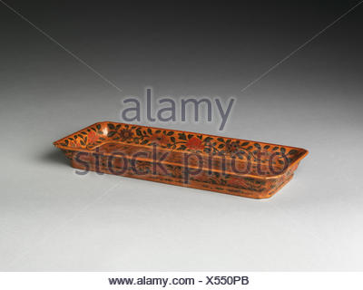 Rectangular Tray with Dragons Chasing a Pearl. Period: Ming dynasty (1368-1644); Date: late 16th-early 17th century; Culture: China; Medium: - Stock Photo