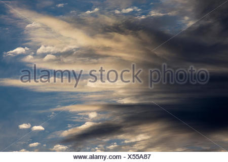 Stratocumulus clouds with Altocumulus clouds behind, Andalusia, Spain - Stock Photo