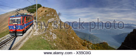 Ticino, Monte Generoso, mountain road, Lake Lugano, Alpine chain, mountain road, autumn, canton, Ticino, Southern Switzerland, S - Stock Photo