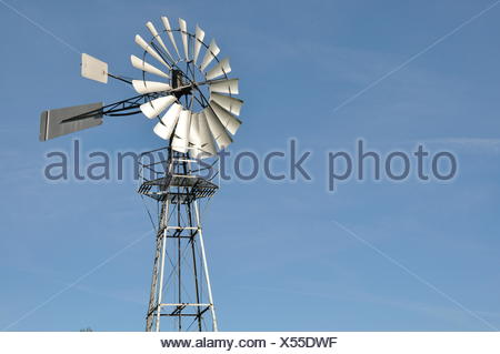 windmill wind energy unclouded - Stock Photo