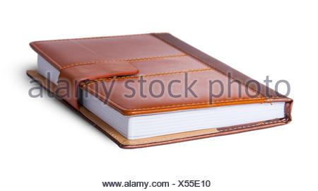 Closed notebook in leather cover - Stock Photo
