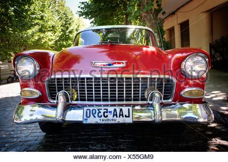 Classic car in Colonia del Sacramento, Uruguay. - Stock Photo