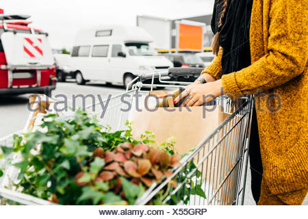 Midsection of woman with shopping cart full of purchases in parking area - Stock Photo