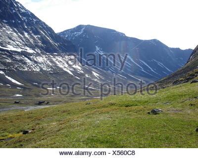 mountains, hike, go hiking, ramble, sweden, lapland, mountain, migrate, - Stock Photo