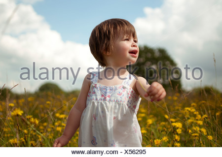 A little girl standing in a wild flower meadow - Stock Photo