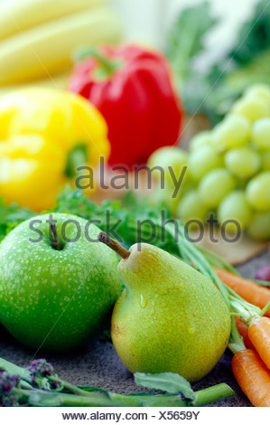 Fruits and vegetables. These are an essential part of a healthy diet, being a good source of vitamins, minerals and fibre. - Stock Photo