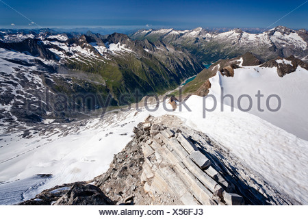 View from Mt Hochfeiler across the Pfitschertal valley, Zillertal valley and Schlegeisspeicher reservoir at back, Austria - Stock Photo