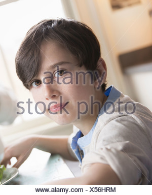 A child a young boy with brown hair and brown eyes sitting at the family table - Stock Photo