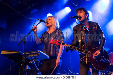 Roeland Vandemoortele and Eva Buytaert from the Belgian indie-rock-electro-guitar-duo Too Tangled performing live in the - Stock Photo