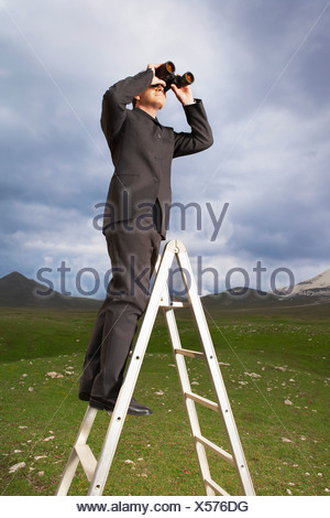Businessman in mountain field on ladder Looking Through Binoculars - Stock Photo